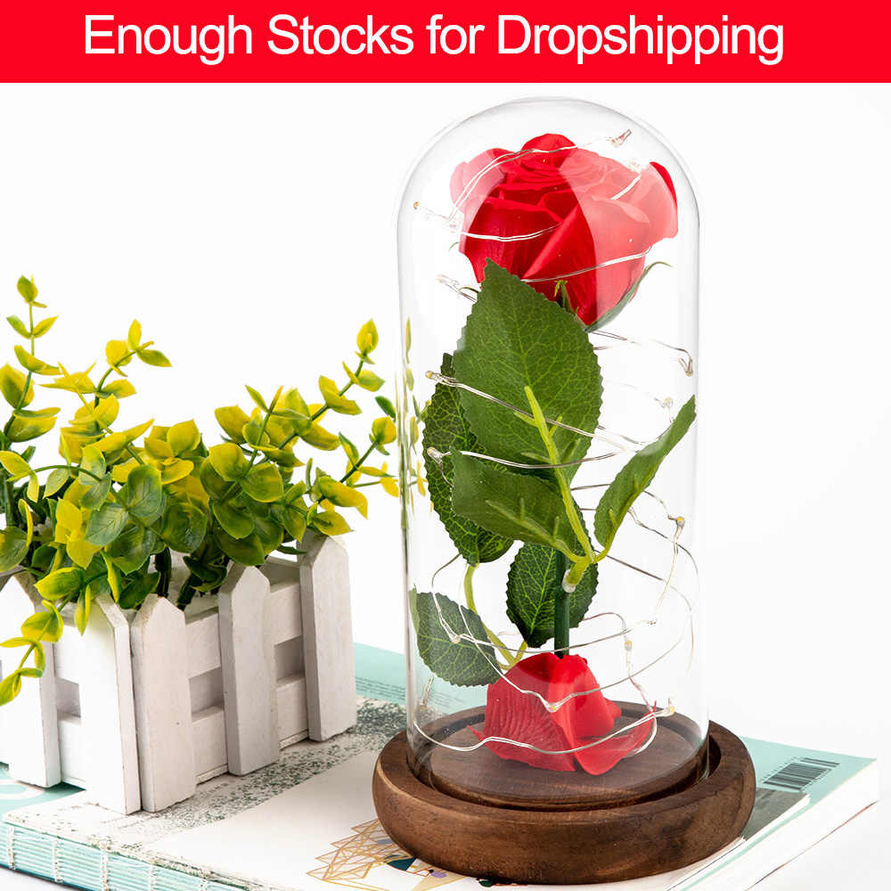 Beauty and the Beast Red Rose in a Glass Dome on a Wooden Base Rose Lamp for Valentine's Gifts