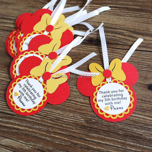 Personalized Birthday Favour Tags Gold And Red Custom Mouse Party