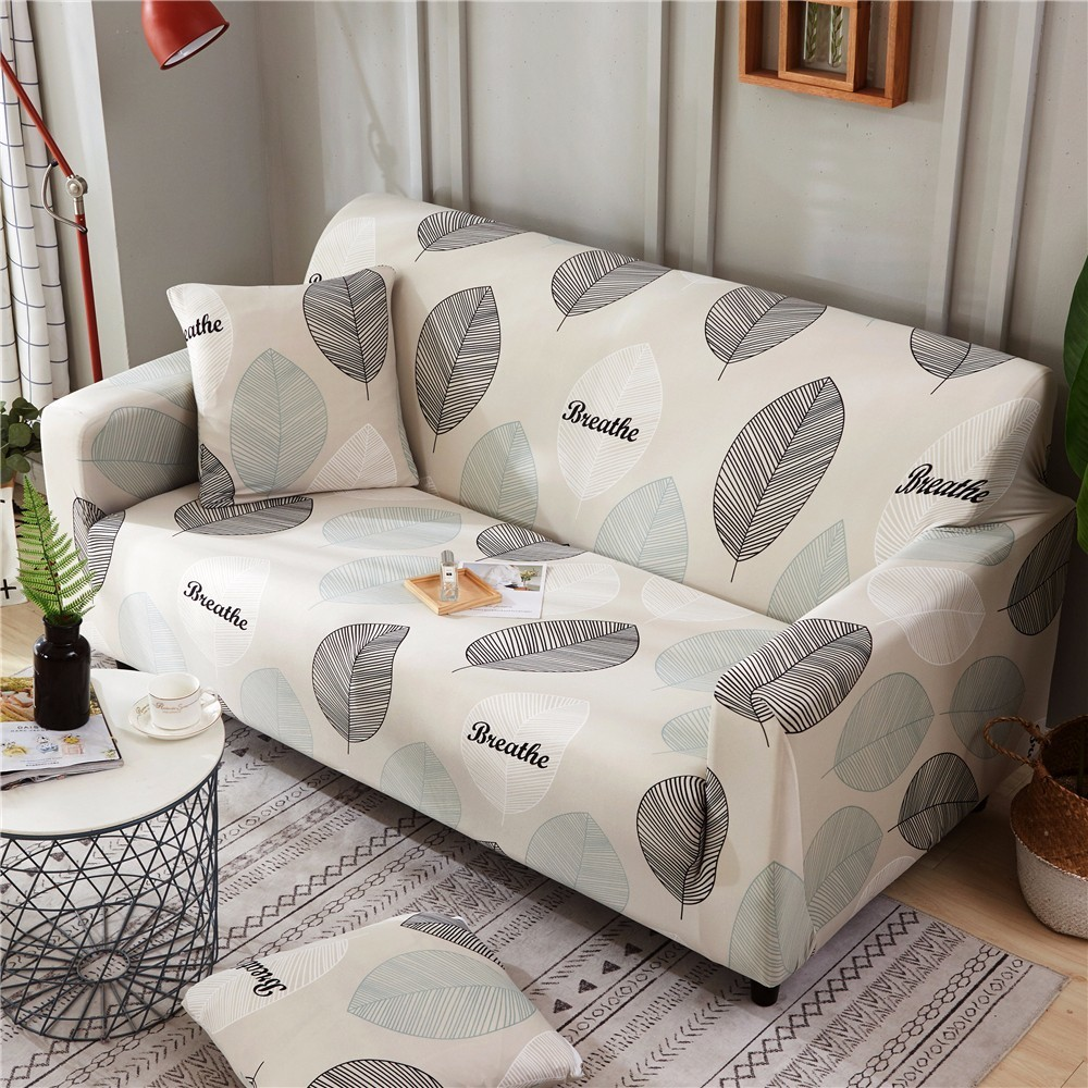 US $12.75 50% OFF|Pastoral Style Large Leaves Printed Armrest Slipcovers  All inclusive Sofa Cover Elastic Sectional Sofa Cover1/2/3/4 seater-in Sofa  ...