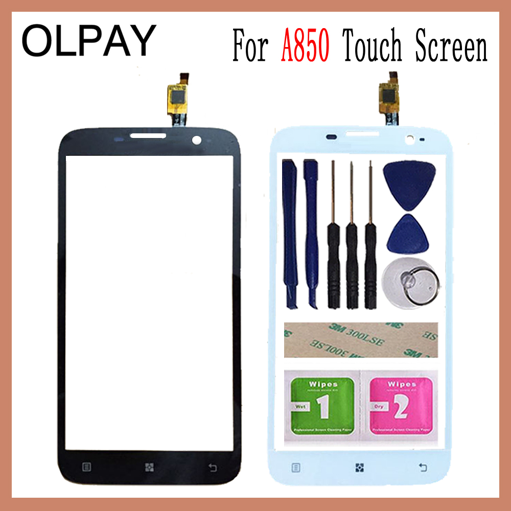 OLPAY 5.5'' Touch Panel For Lenovo A850 A 850 Touch Screen Glass Digitizer Panel Lens Sensor Glass Free Adhesive And Wipes