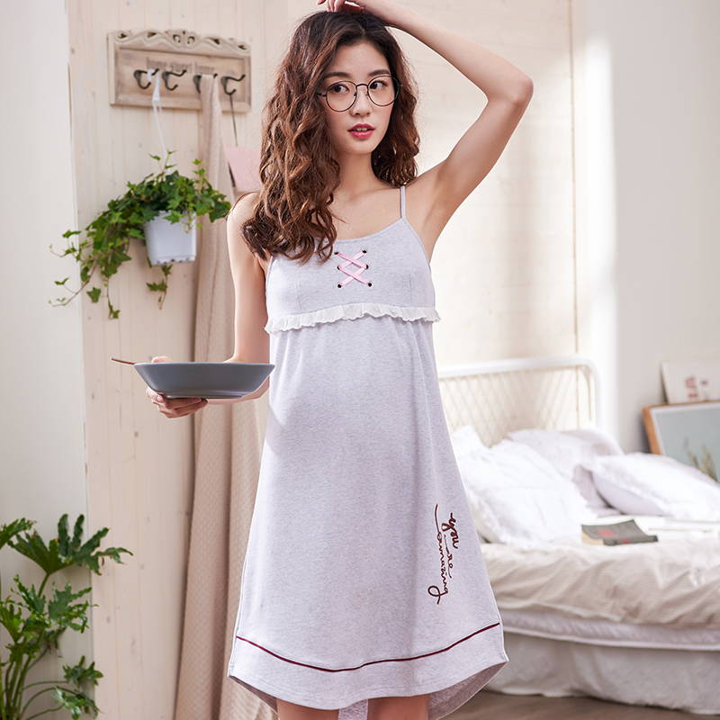 100% Cotton Woman Sleepwear Summer Comfortable Sexy Sling Nightdress Ladies Lovely sleeveless Casual home service free shipping