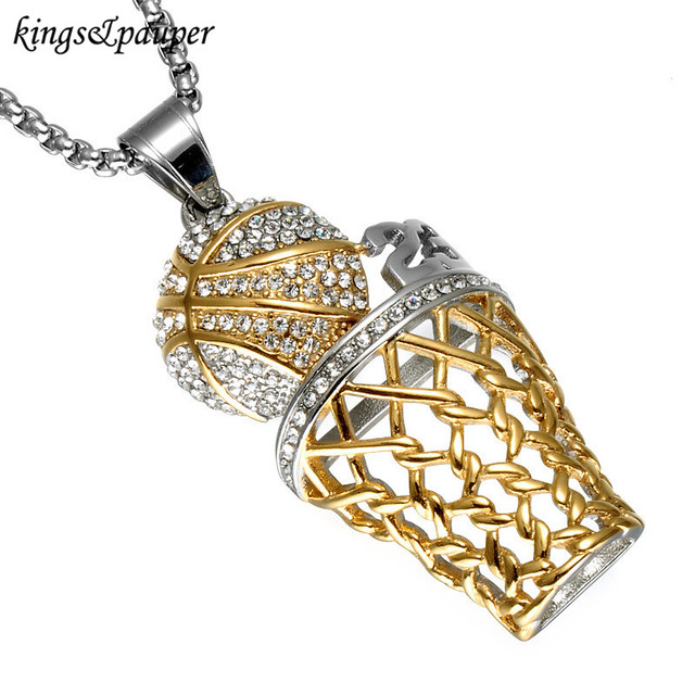 Stainless steel male jewelry hip hop iced out bling full stainless steel male jewelry hip hop iced out bling full rhinestone men basketball sports pendants necklaces mozeypictures Gallery