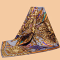 "Huajun | | Классический Цветок Марка Шарф ""Бог Солнца"" 90 шелковый шарф 100% шелковицы саржевого шарф печати шаль"