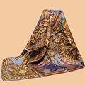 "Huajun || Classic Flower Brand Scarf ""Sun God"" 90 silk scarf 100% mulberry silk twill scarf printing shawl"
