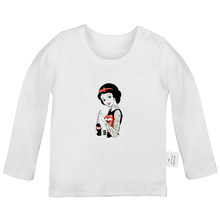 Stained Glass Princess Snow White Tattoo Design Newborn Baby T-shirts Toddler Graphic Printing Solid color Long sleeve Tee Tops(China)