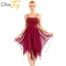 ChicTry Adult Asymmetrical Chiffon Spaghetti Straps Women Modern Ballroom Dress Ballet Tutu Contemporary Lyrical Dance Costumes