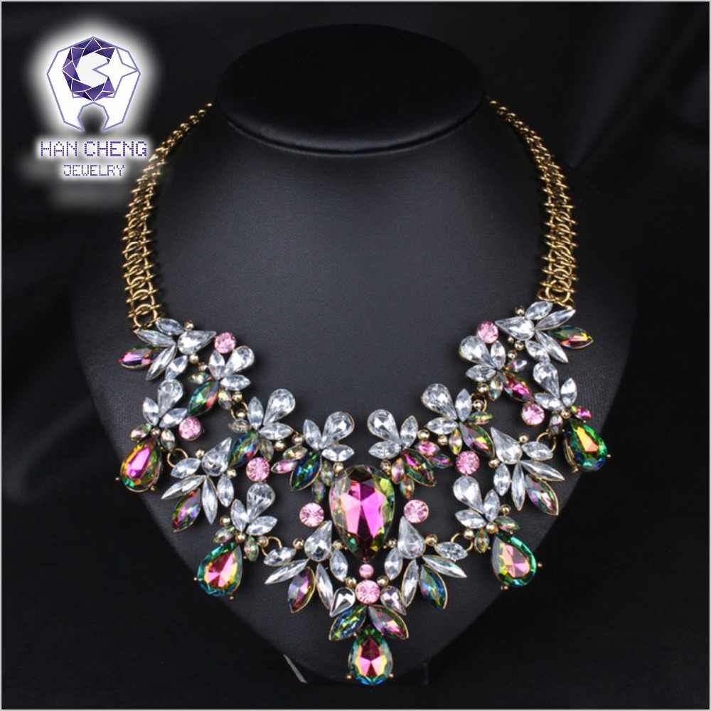 Fashion Bohemian Rhinestone Water Drop Big Created Crystal Golden Metal Statement Maxi Choker Necklace Women Jewelry collier
