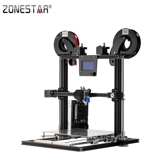 ZONESTAR Full Metal Dual Extruder Mixed Color Aluminum Frame Large Size 300x300x400 impresora 3D printer DIY kit Auto Level