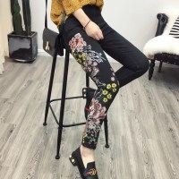 2016 Vintage Colorful Elastic Floral Chinese Dragon Embroidery Washed Denim Jeans Pockets Pants Casual Women Black