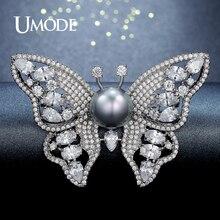 UMODE Nueva Forma de La Mariposa Broches para Las Mujeres Joyería de Plata de Color Perla Broche y Pins Broches de Cristal Austriaco Regalos AUX0008