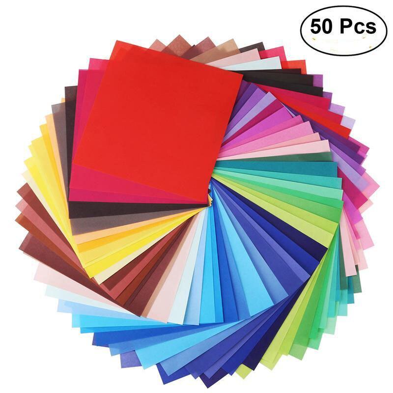 50 листов, яркие цвета, односторонняя бумага для оригами, квадратный лист для декоративно-прикладного искусства