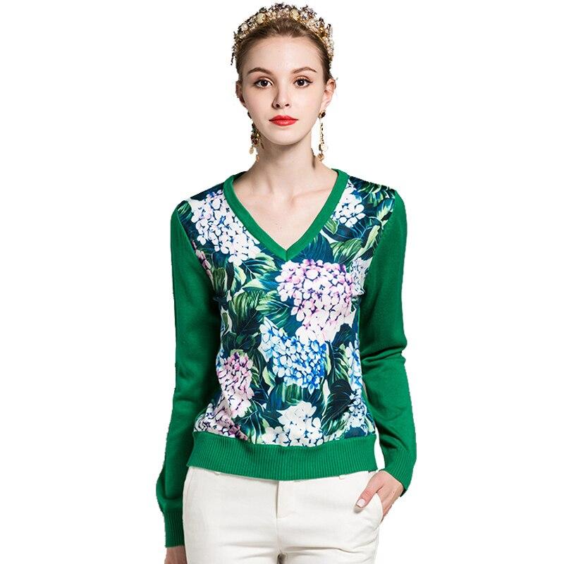 2018 printemps haut à la mode femmes élégant vert Floral imprimé tricoté Blouse Sexy col en v à manches longues Causual hauts en tricot