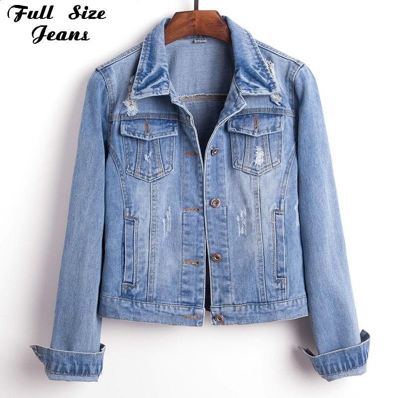 women plus size 4xl 5xl cropped jean jacket long sleeve