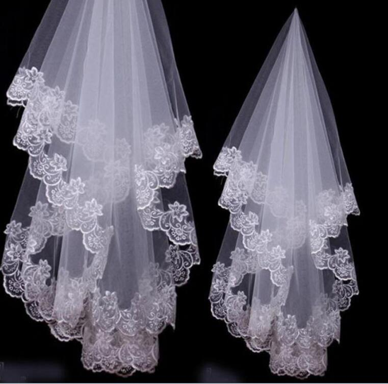 Wedding Veils Bridal Accessories Ivory White Champagne Red Drop Veil Fingertip Lace Applique Wedding Veils Free Shipping