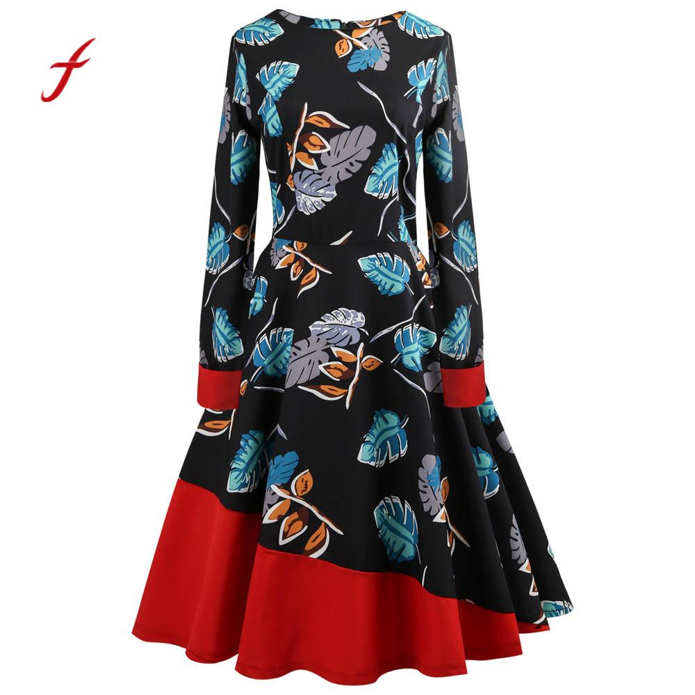 Feitong Elegant Women Dress Vintage Floral Bodycon Long Sleeve High waist Casual Hepburn Party Prom Swing