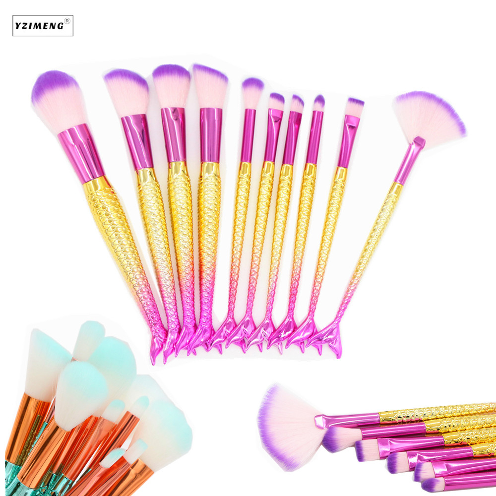 10 PCS Professional Makeup Brushes Fish Tail Brushes  Foundation Powder Eyeshadow Contour Concealer Blush Brush Makeup Cosmetic 1000g 98% fish collagen powder high purity for functional food