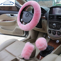 KKYSYELVA Fur Black Short Coat Car Steering Wheel Cover Winter Woolen Car Accessory 38cm Steering Wheel