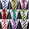 NEW STYLE Blue Red Green White Yellow Black Stripe Man's Classic Rayon Polyester Tie Business Wedding Party Men Fashion Necktie