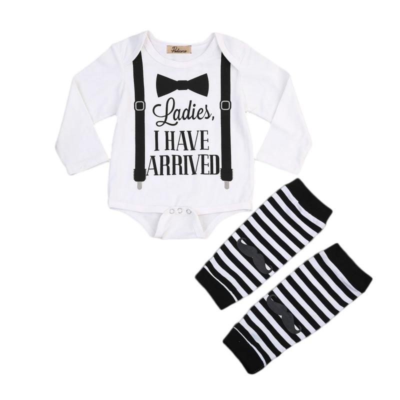 Infant Newborn Baby Boy Clothes Set Cotton Gentleman Long Sleeve Romper Warmer Leggings 2Pcs Kids Outfits Set Outfits Sunsuit