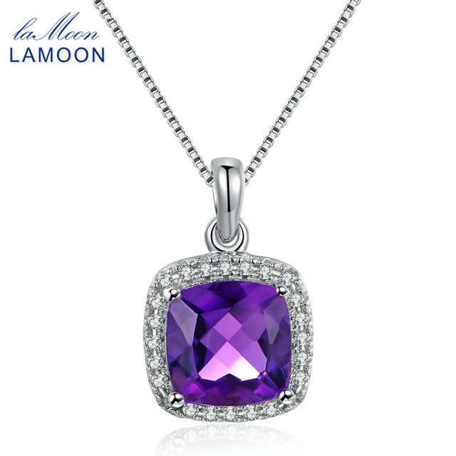 Fine Jewelry Womens Purple Amethyst Gold Over Silver Pendant Necklace Ax2TV5svm6