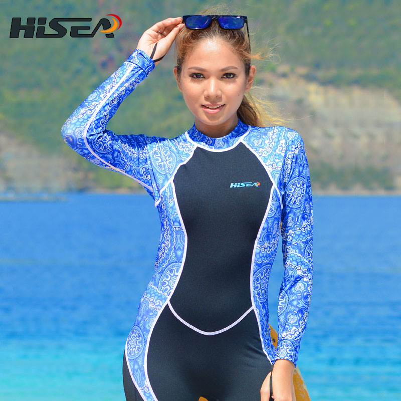 Woman One-Piece Diving Suit Blue Porcelain Anti UV Sun Protection Women wet suit surfing swimming Clothing long sleeve Dive Skin sports outdoor two in one twinset jackets female sun protection clothing anti uv sun protection jacket