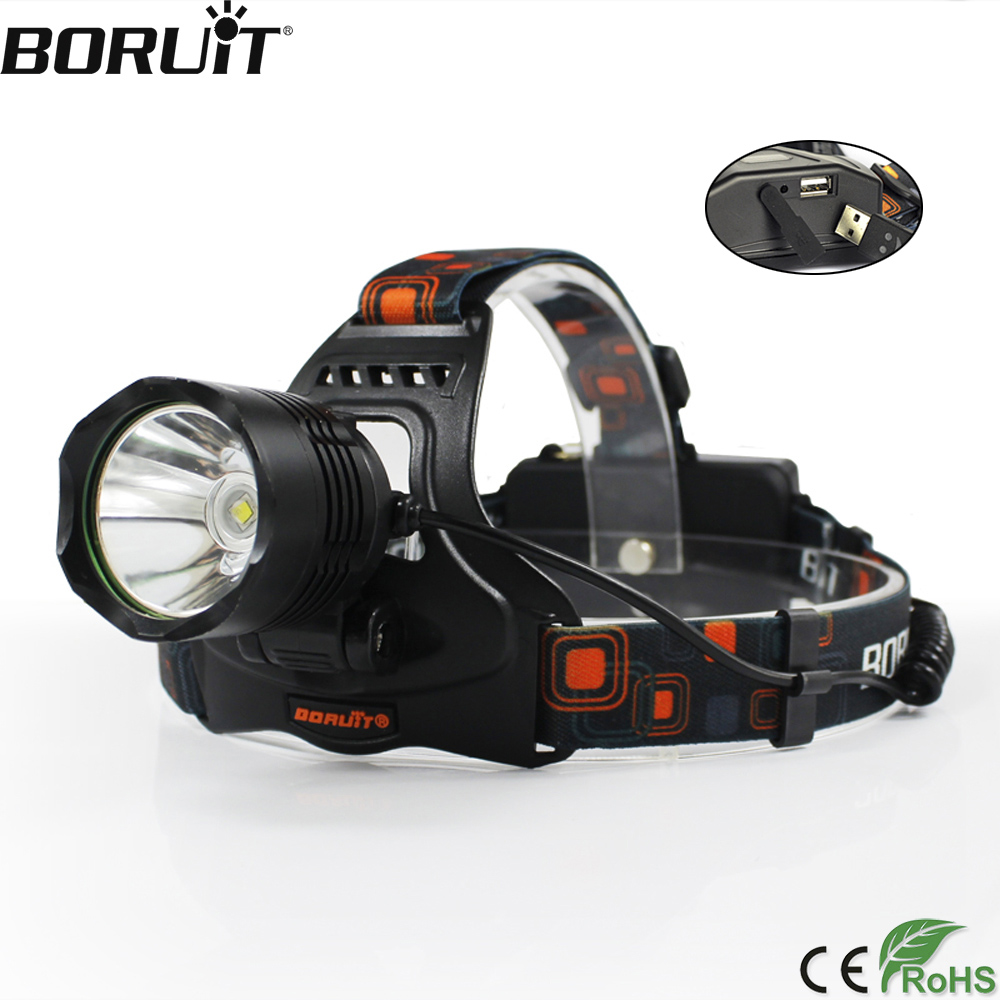 BORUiT Multifungsi 5 Mode XM-L2 LED Headlight Bank Daya DC Charger Headlamp 18650 Baterai Kepala Torch Camping Senter