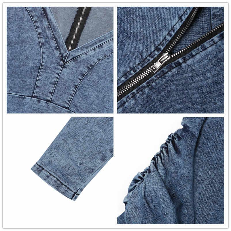 джинсовое платье осень 2019 платья больших размеров одежда для женщин обтягивающее платье с длинными рукавами модное короткое платье с v-образным вырезом D7628