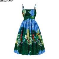 Весенние винтажные платья океан Стиль Лето цветок печати зеленый Элегантное Платье С НАБОРНЫМИ БРЕТЕЛЬКАМИ пикантные вечерние женские вин...
