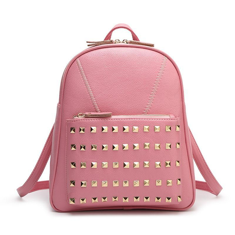 ФОТО 2016 Fashion Girl Backpack Genuine Leather Leisure Rivets Designer Backpacks Women Hot Cowhide Bag Girl School