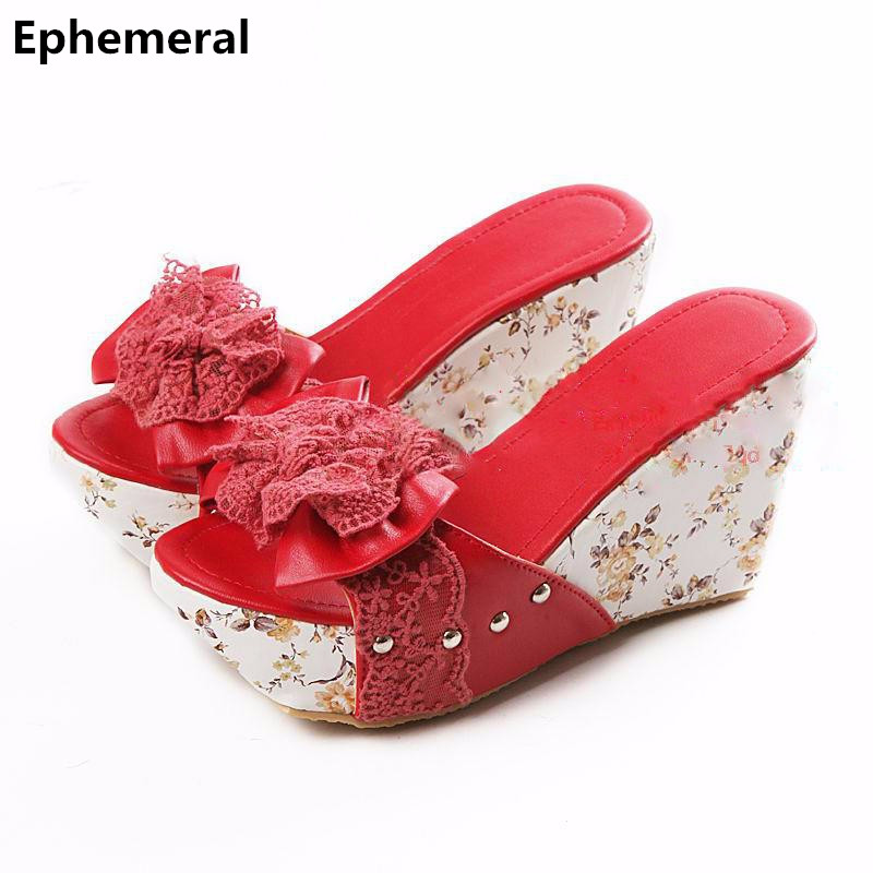 Ladies Printed flower slippers chunky heel wedges slides open toe high heel shoes 9cm european and american style blue red beige