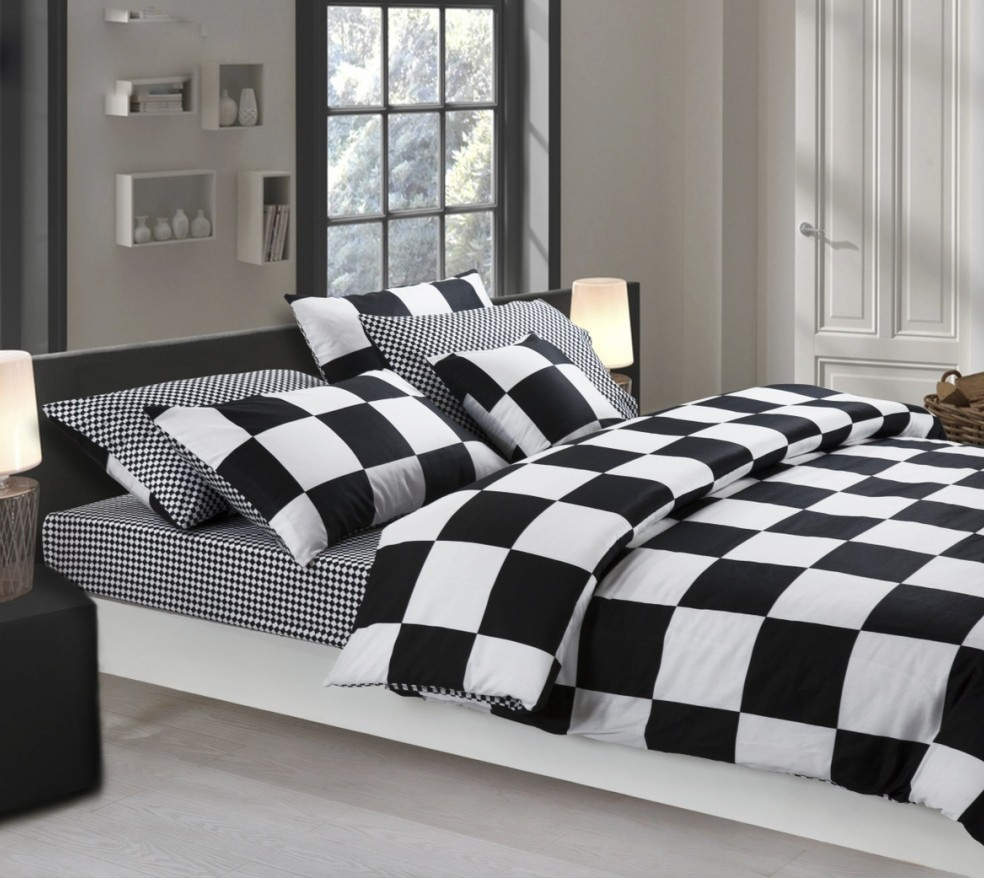Attirant Black And White Grid Print Bedding Set Queen King Size Bed Sheets Fitted  Sheets Bedspread Duvet Cover Pillowcases 100 % Cotton. In Bedding Sets From  Home ...