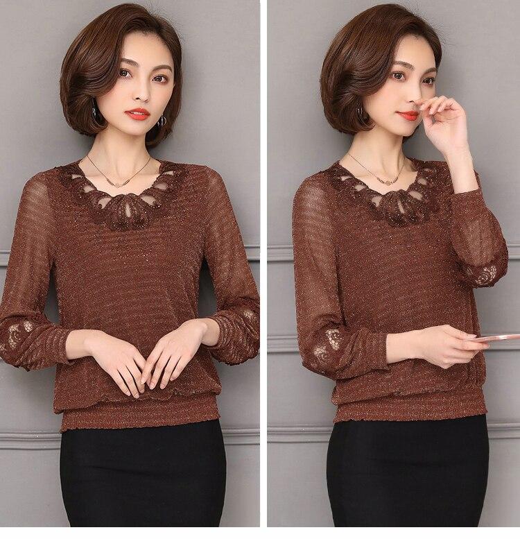2018 fall winter Plus size Women clothing lace   Shirt   Tops Cutout basic female Elegant long-sleeve Lace   Blouses     shirts   5XL 952F