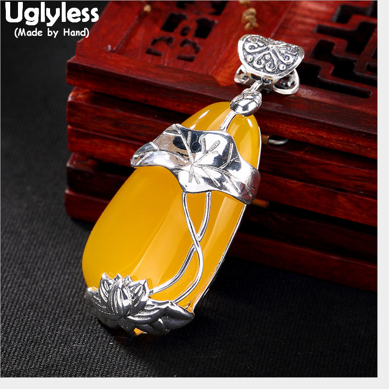 Uglyless Real 925 Sterling Silver Lotus Leaf Pendants Necklaces NO Chains Water Drop Chalcedony Pendant Ethnic Fish Fine Jewelry