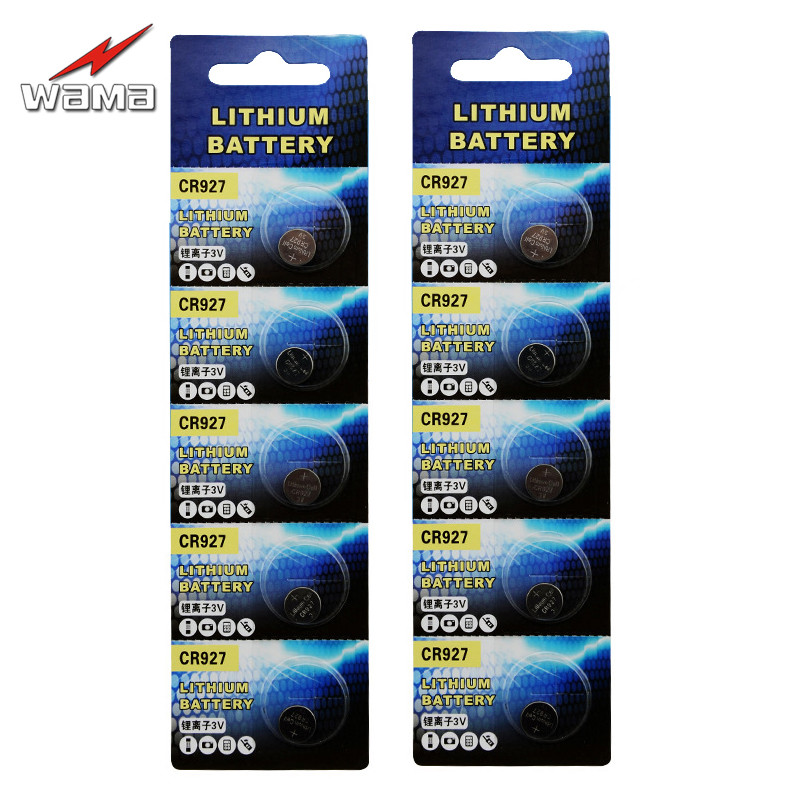 10pcs/lot Wama CR927 Button Cell Coin Batteries 3V High Energy Thermometer Pen Alarm Lithium Battery DL927 BR927 ECR927 Drop