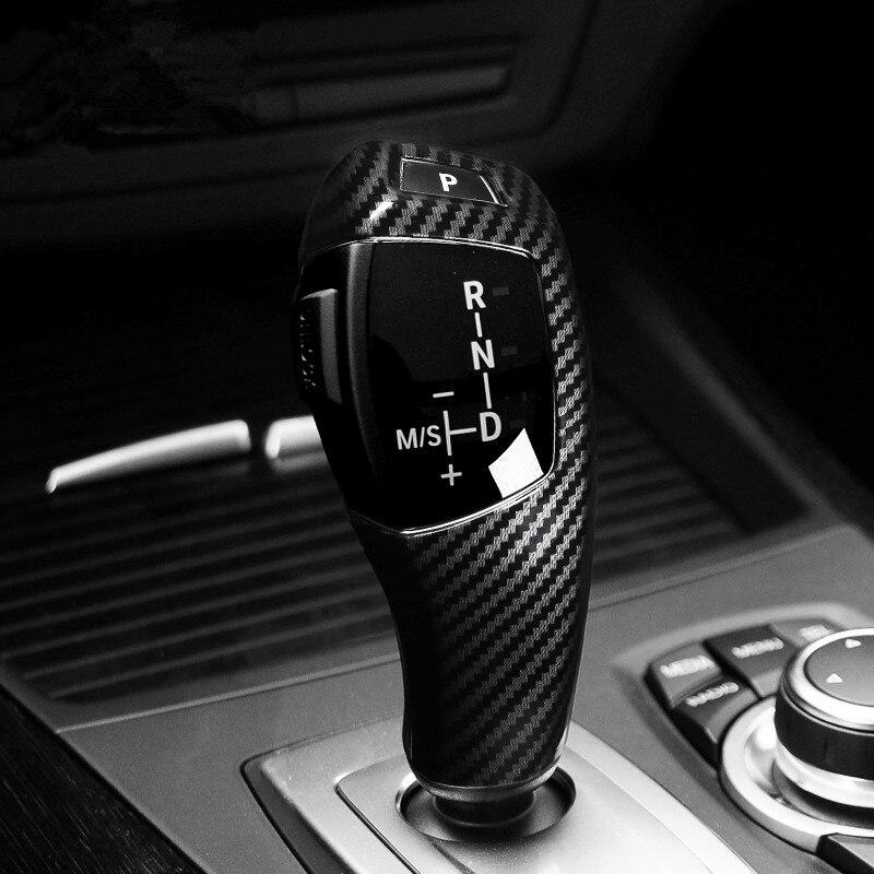 De fibra de carbono estilo de cambio de engranaje de manejar de la cubierta de la manga de la Corte para BMW E60 E70 E71 X5 X6 2008-2014 LHD accesorios de Interior de coche ABS