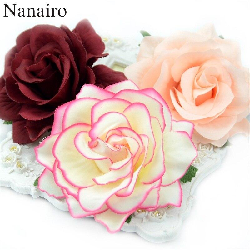 10 шт., искусственные розовые шелковые головки цветов для украшения свадьбы, скрапбукинга своими руками, венок, Подарочная коробка, искусств...