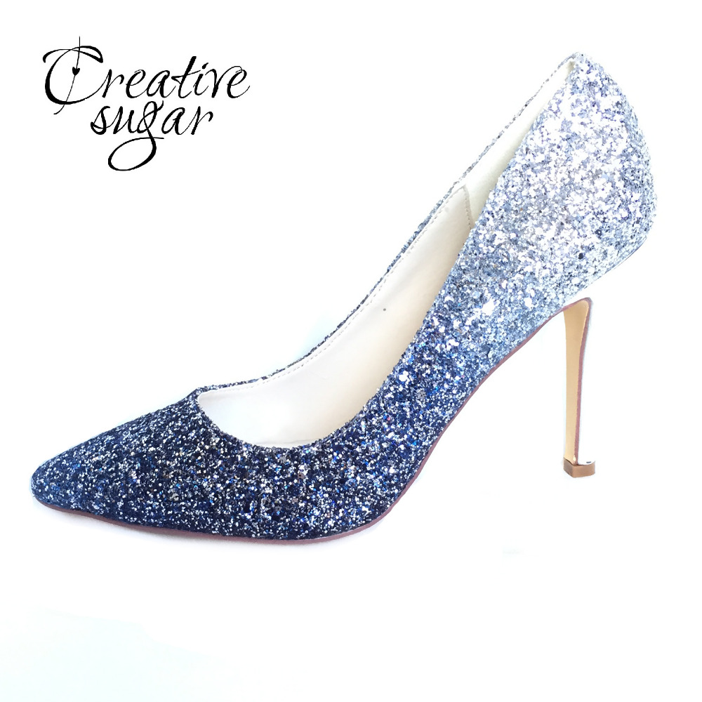 Creativesugar blue glitter Gradient color pointed toe lady pumps bling shining bridal wedding party dress shoes high heels women pointed toe high heels white pearls beaded rhinestones striped bridal wedding dress shoes lady elegant party pumps