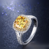 2 carat sterling silver plated carbon co ring double ring diamond ring yellow diamond luxury atmosphere (YD)
