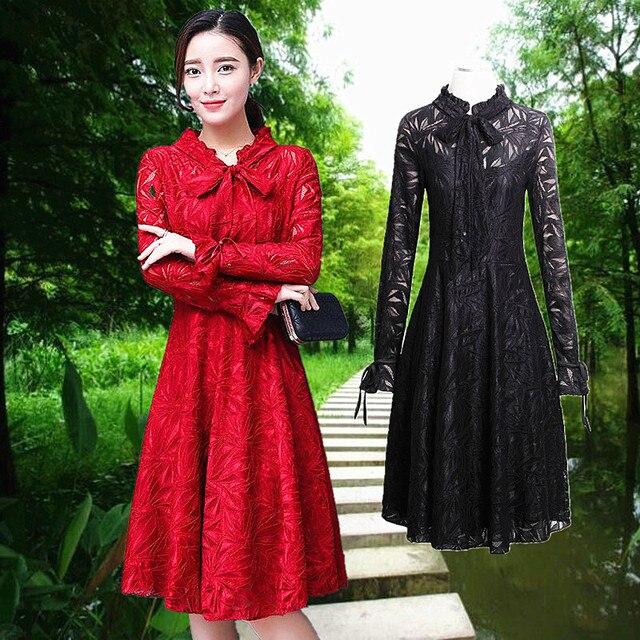 online retailer 7571c 677a9 US $60.0 |Und herbst kleider, lang s, worten, lange ärmel, frauen 2017,  mode neue, schlank schlanke, koreanische spitze herbst outfit in Und herbst  ...