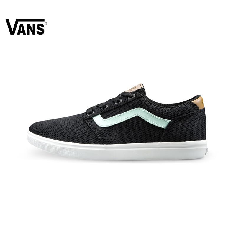 Original Vans Black Color Low-Top Women's light weight Skateboarding Shoes Canvas Sneakers Sports Low Top New Arrival low top velcro sneakers