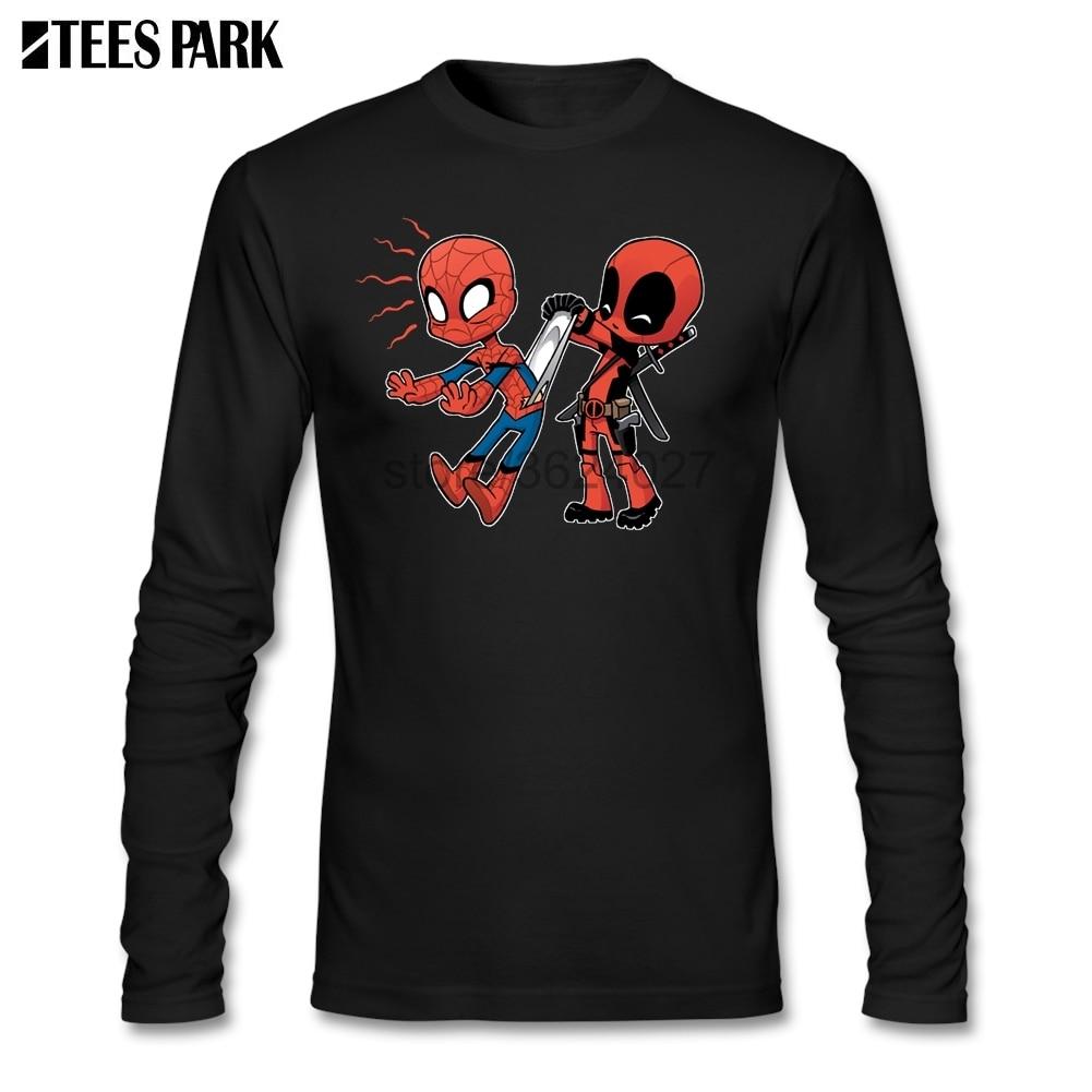 Manches longues bande dessinée Superheros Spiderman Deadpool T-shirt T-shirt homme dernier homme Camisetas 100% coton vêtements abstrait haut