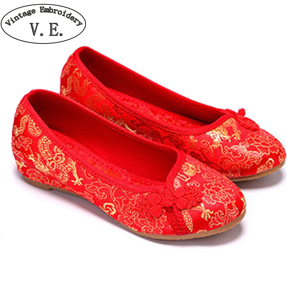 Women Bride Flats Old Beijing National Single Shoes Chinese Wedding Shoes Dragon Phoenix Embroidery Ballets For Cheongsam weowalk 5 colors chinese dragon embroidery women s old beijing shoes ladies casual cotton driving ballets flats big size 34 41
