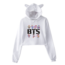 f7ba5897b8f BTS Album Love Yourself Love Kpop Long Sleeve Cropped Hoodies Sweatshirt  Women Cat Hooded Pullover Crop