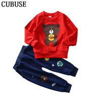 2pcs Cartoon Tshirt Pants Clothing Sets For Kids Clothes Children Boy Bear Hoodie Baby Girl Outfits