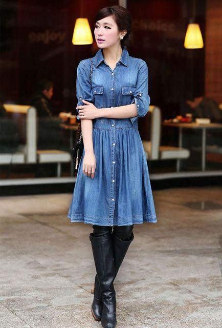 2056d6e97c Plus sizes New Fashion Ladies  blue denim dress