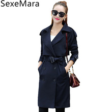 2017 NEW Spring Autumn Women's Clothing Fashion Long Windbreaker Female Casual Slim Double Breasted Trench Coat With Belt C240