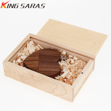 XIWANG Customizable company logo Wooden heart USB flash drive Pendrive2.0 4GB 8GB 16GB 32GB 64GB Memory stick