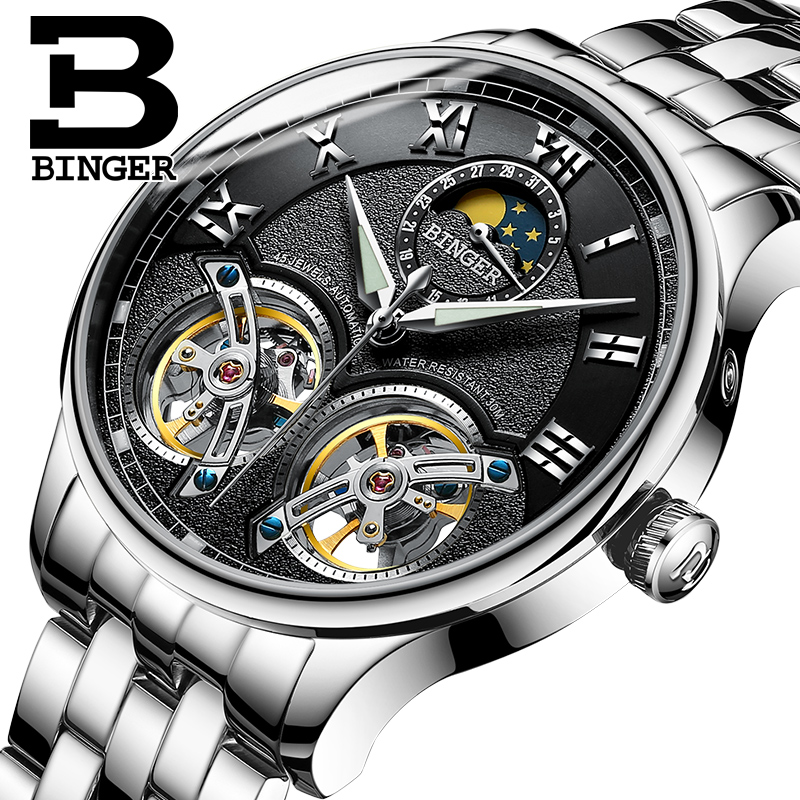 Genuine Switzerland BINGER Brand Men Self-wind waterproof steel automatic mechanical male leather Luminous Tourbillon watch mce brand men self wind waterproof leather strap automatic mechanical male black white dial fashion tourbillon watch men clock
