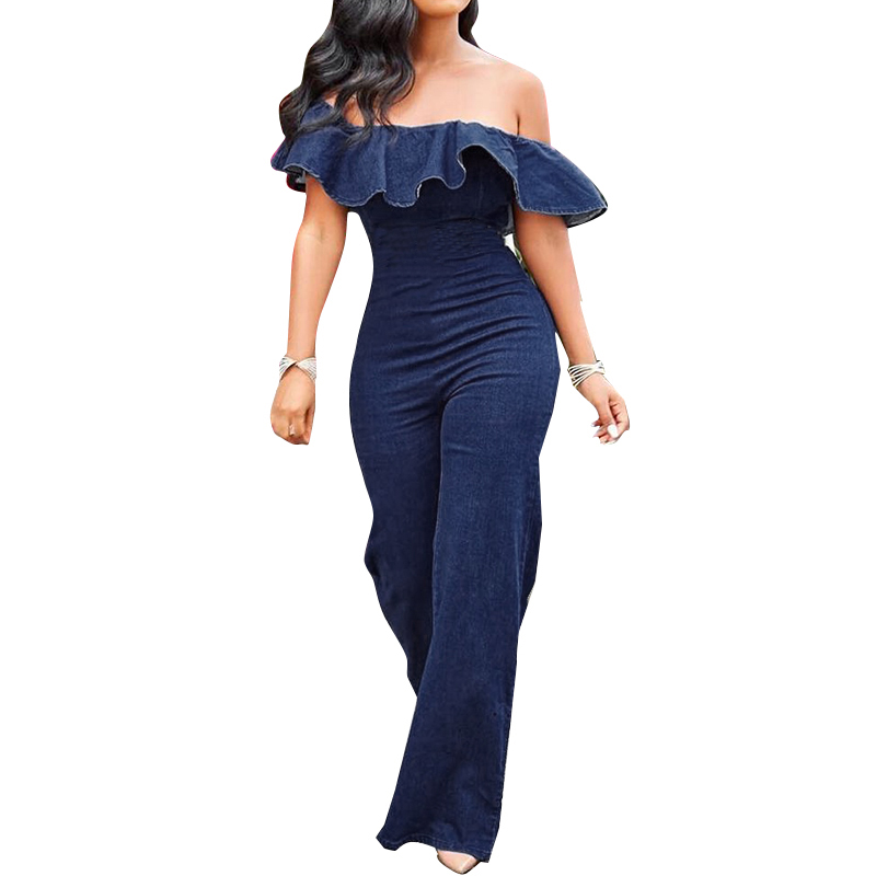 VONDA Demin Rompers Women Jumpsuit 2019 Summer Wide leg Pants Office Ladies Bodysuits Sexy Ruffle Sleeveless Playsuits Plus Size in Jumpsuits from Women 39 s Clothing