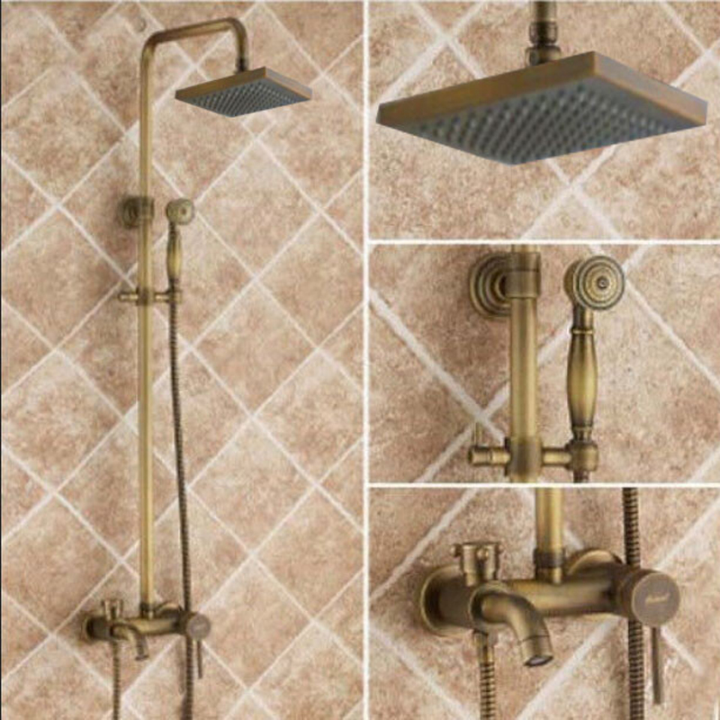 Square 8 Rain Shower Head Tub Spout Shower Faucet Hand Sprayer Antique Brass